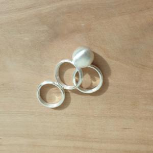 [칠보공방] 순수 은볼반지 3링 레이어드 심플볼링 칠보 공방에서 직접 만드는 가락지
