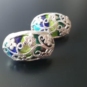 [칠보공방] 순은 꽃문양 투각 블루그린 칠보 볼드귀걸이